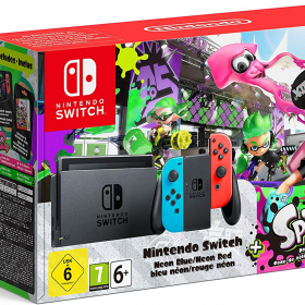 KONZOLA NINTENDO SWITCH + NEON RED & BLUE JOY-CON + SPLATOON 2